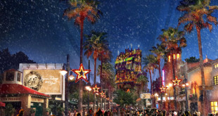 Walt Disney World Resort is the place to be this holiday season as theme parks and resort hotels sparkle with jolly decorations that bring the spirit of the season to life. At Disney's Hollywood Studios, a new holiday experience called Sunset Seasons Greetings features spectacular projections of Mickey, Minnie and other beloved Disney characters sharing their favorite Christmas stories (rendering). (Handout Image, Disney) (PRNewsfoto/Walt Disney World Resort)